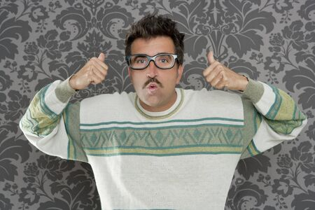 tacky: nerd pensive silly man ok gesture retro glasses tacky