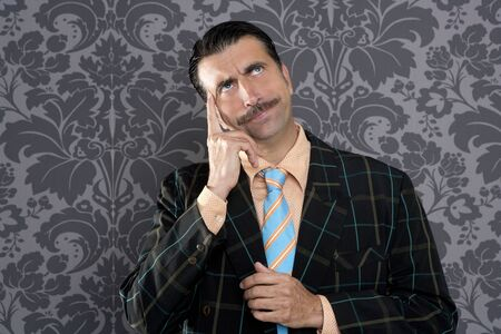 wallpapaer: nerd businessman pensive gesture silly funny retro wallpapaer background Stock Photo