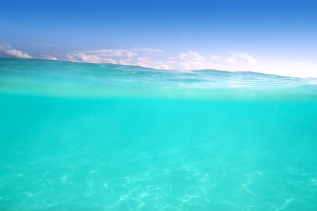 clear waterline caribbean sea underwater and blue sea photo
