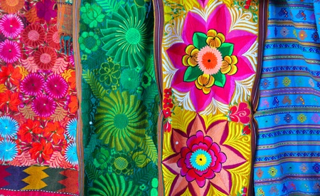 artisanry: Mexican colorful serape traditional embroidery colorful fabrics