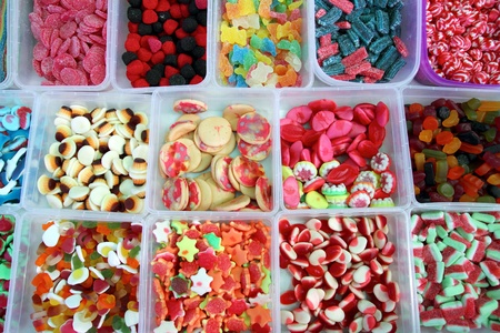 candy colorful sweets jelly in boxes pattern background photo