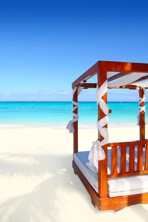 hammock beach: bed of wood in beach caribbean sea white sand Stock Photo