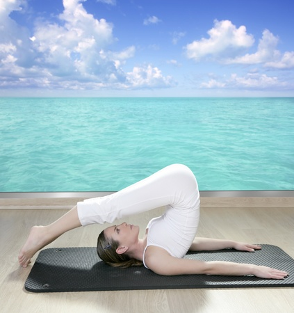 mats: black mat yoga woman window turquoise sea view tropical caribbean