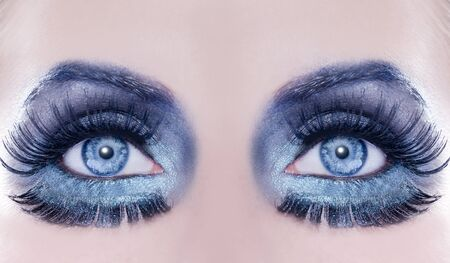 Blue eyes makeup macro closeup fantasy fashion silver metallic photo