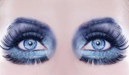 Blue eyes makeup macro closeup fantasy fashion silver metallic photo