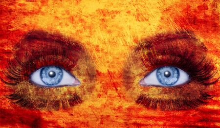 fantasy makeup: abstract blue eyes makeup woman texture red yellow fire colors