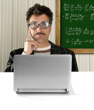 Genius nerd glasses silly man board math formula pensive gesture thinking expression Stock Photo - 9706005