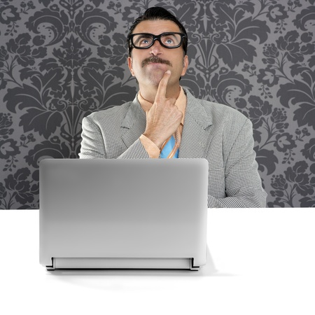 genius nerd silly glasses computer thinking gesture problem solution wallpaper background photo