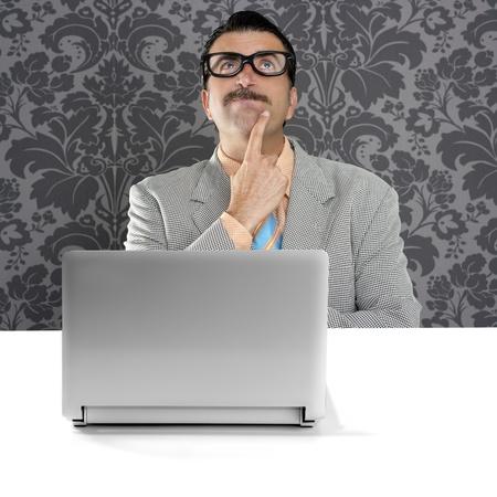 genius nerd silly glasses computer thinking gesture problem solution wallpaper background photo