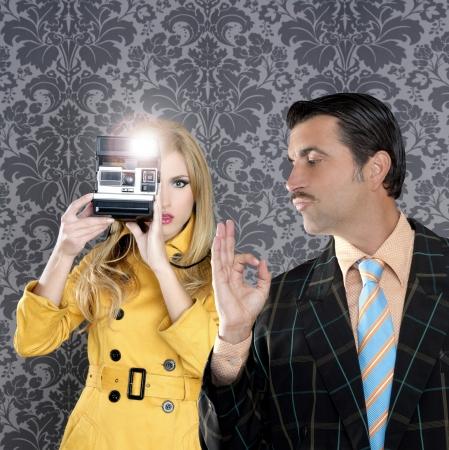 geek tacky mustache man reporter fashion girl photo shoot retro wallpaper photo