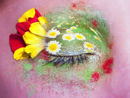 closed woman eye makeup spring flowers metaphor colorful fantasy meadow photo