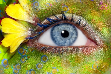 blue woman eye makeup spring flowers metaphor colorful fantasy meadow Stock Photo - 9706500