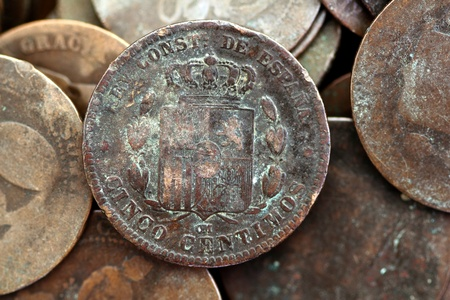 coin peseta real old spain republic 1937 currency and cents centimos photo