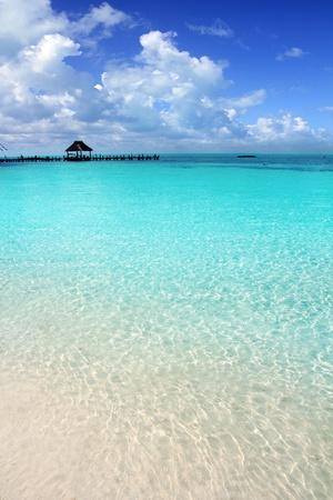 Caribbean tropical beach cabin pier Contoy island\ Mexico