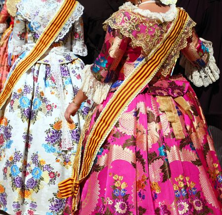 fest: falleras costume fallas dress detail from Valencia Spain fest celebration