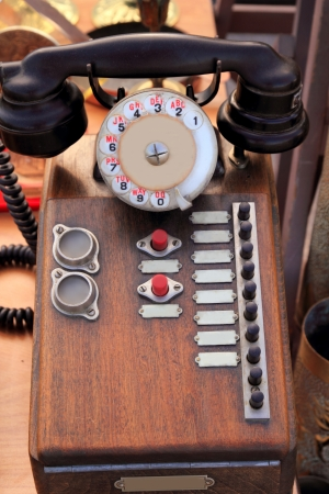 antique vintage wooden french PBX telephony telephone ancient Stock Photo - 9941380