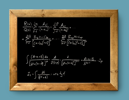 derivation: board black blackboard difficult mathematical integral formula math Stock Photo