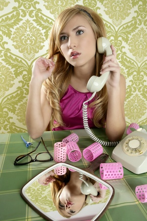 retro housewife telephone woman vintage wallpaper Stock Photo - 10485948