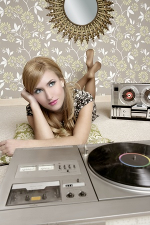 audiophile: audiophile retro woman vinyl turntable music and open reel tape recorder