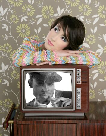 retro woman in love with tv african hero vintage 60s wallpaper photo