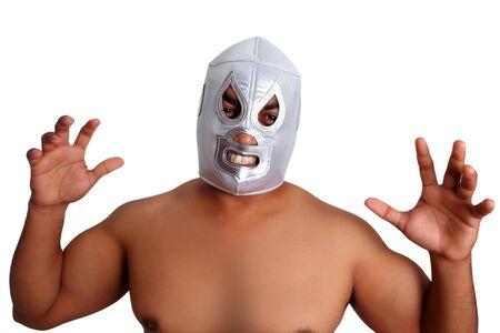 traje mexicano: mexicano wrestling gesto de caza de máscara plata aislado en blanco