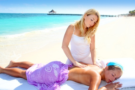 Caribbean turquoise beach chiropractic massage therapy woman  Stock Photo - 9941278