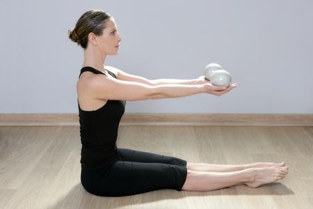 pilates toning ball woman yoga aerobics sport gym girl photo