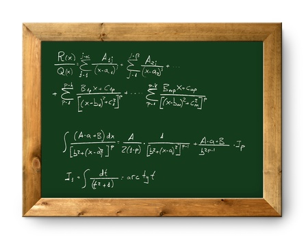 green blackboard with written difficult mathematical integral formula photo
