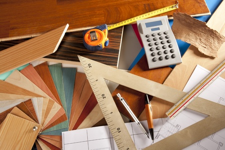 Architect interior designer or carpenter workplace with desk design tools Stock Photo - 9941656