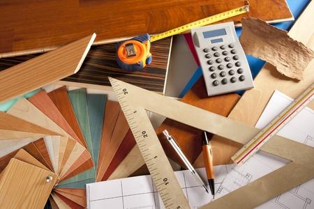Architect interior designer or carpenter workplace with desk design tools Stock Photo - 9941656