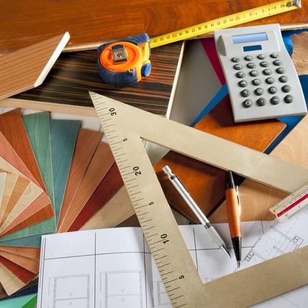 Architect interior designer or carpenter workplace with desk design tools Stock Photo - 9941586