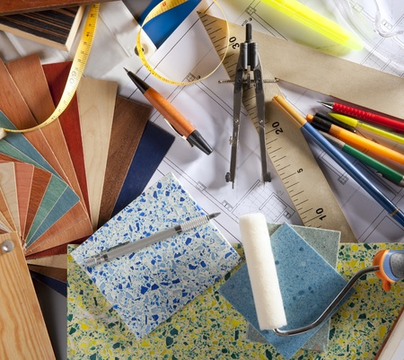 Architect or interior designer workplace desk and design tools with lots of construction material samples Stock Photo - 9941636