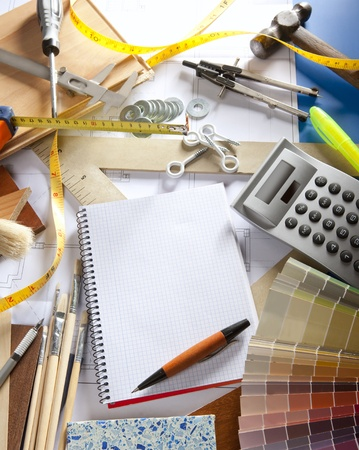 Architect or interior designer workplace desk with spiral notebook blank copy space Stock Photo - 9941607