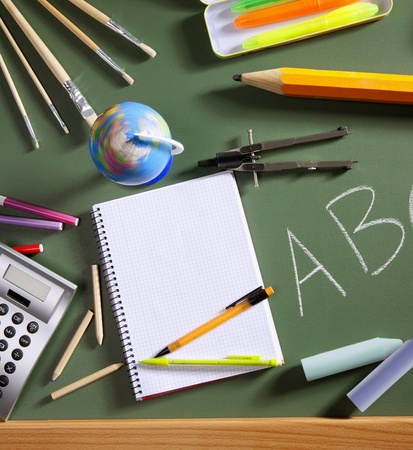 stuff: back to school concept with ABC written in school in green color blackboard Stock Photo