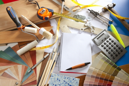 Architect or interior designer workplace desk with spiral notebook blank copy space Stock Photo - 9941641