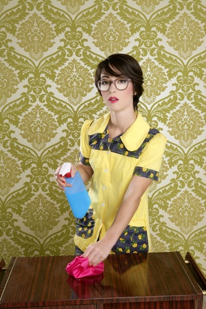 housewife nerd retro in cleaning furniture chores vintage wallpaper photo