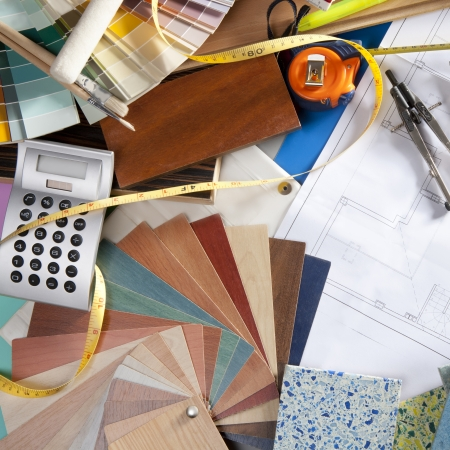 architect tools: Architect or interior designer workplace desk and design tools with lots of construction material samples