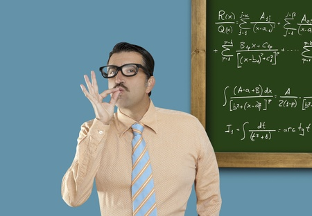 Genius nerd easy found the solution of a mathematical formula in blackboard photo