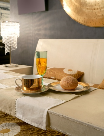 Asian modern bedroom breakfast table luxury interior design photo