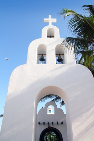 carmen: Playa del Carmen white Mexican church with archs and belfry in Mayan Riviera Mexico