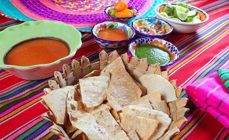 nachos: Mexican sauces pico de gallo habanero chili sauce Mexico spices Stock Photo
