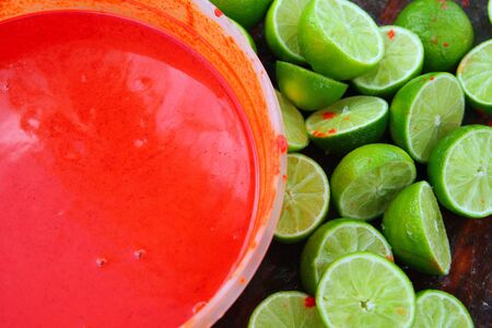 pungency: cut lemons after preparinng achiote tikinchick Mayan traditional sauce in Mexico