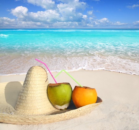 Coconuts in Caribbean beach on mexico sombrero with tropical turquoise sea horizon Stock Photo