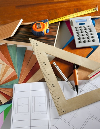architect tools: Architect interior designer or carpenter workplace with desk design tools Stock Photo