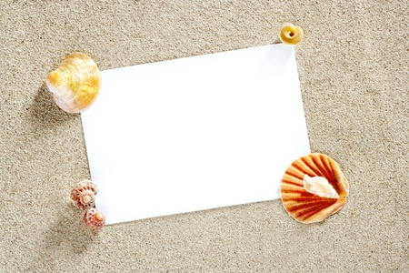 blank paper copy space for summer vacation on a beach white sand Stock Photo - 9942472