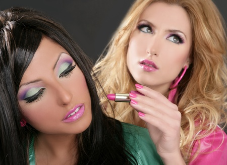 fashion brunette and blonde with pink makeup lipstick retro 80s style photo
