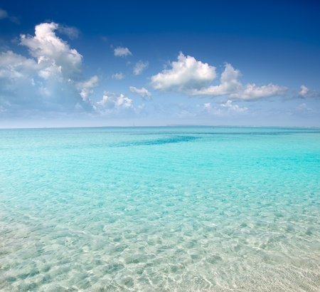 shallow: beach perfect white sand and turquoise water in balearic islands Spain