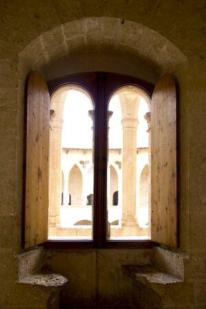 Arch indoor view from Majorca Bellver stone Castle in Palma de Mallorca photo
