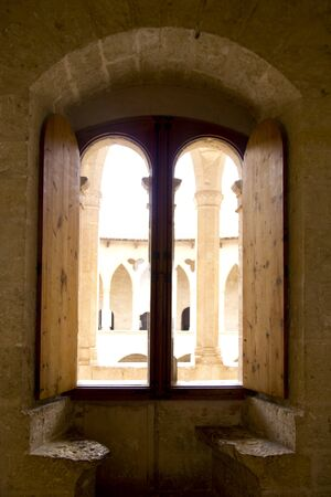 castle interior: Arch indoor view from Majorca Bellver stone Castle in Palma de Mallorca