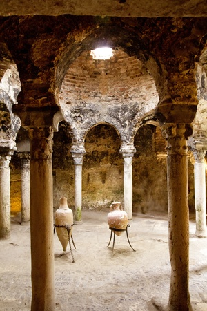 mallorca: Arab baths in Majorca old city of Barrio Calatrava Los Patios at Palma de Mallorca Stock Photo